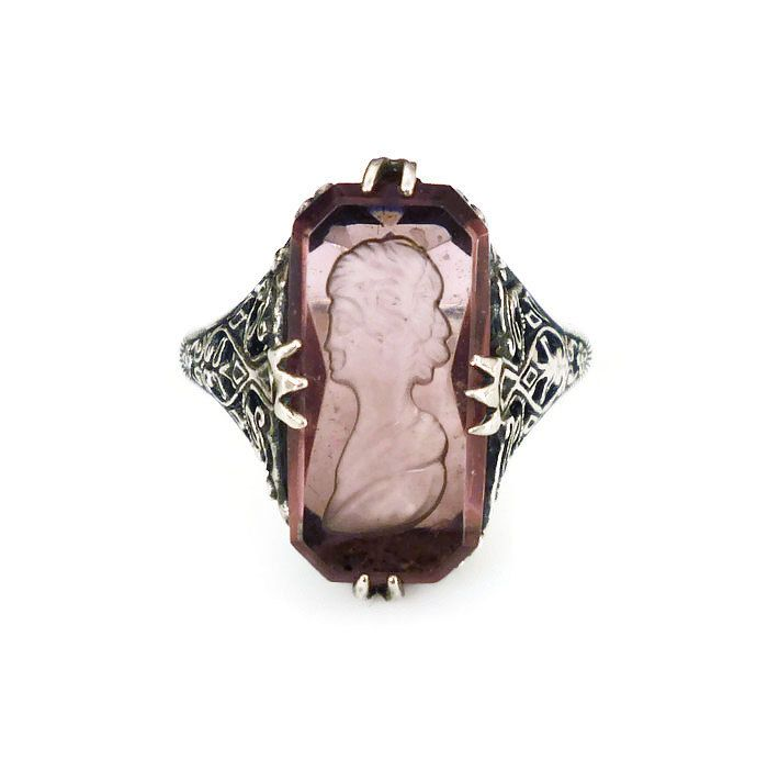 Heirloom 73 Ring, Sterling Silver, Amethyst Glass, Reverse Inglio, Cameo, Filigree, Art Deco Style, Vintage Jewelry by zephyrvintage on Etsy