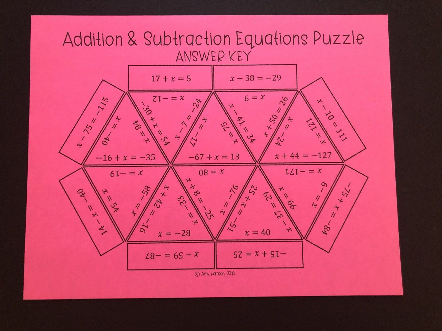 Solving Addition And Subtraction Equations Puzzle With