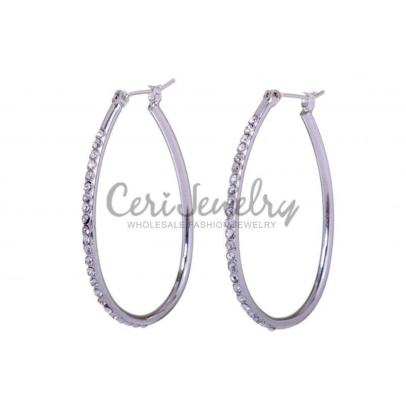 E7231 Swarovski Elements Crystal 1 5 Oval Hoop Earrings