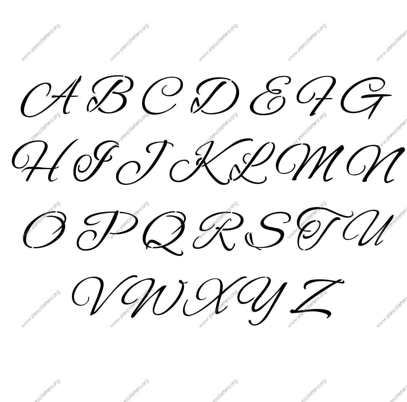 Flowing Cursive A To Z Uppercase Letter Stencils