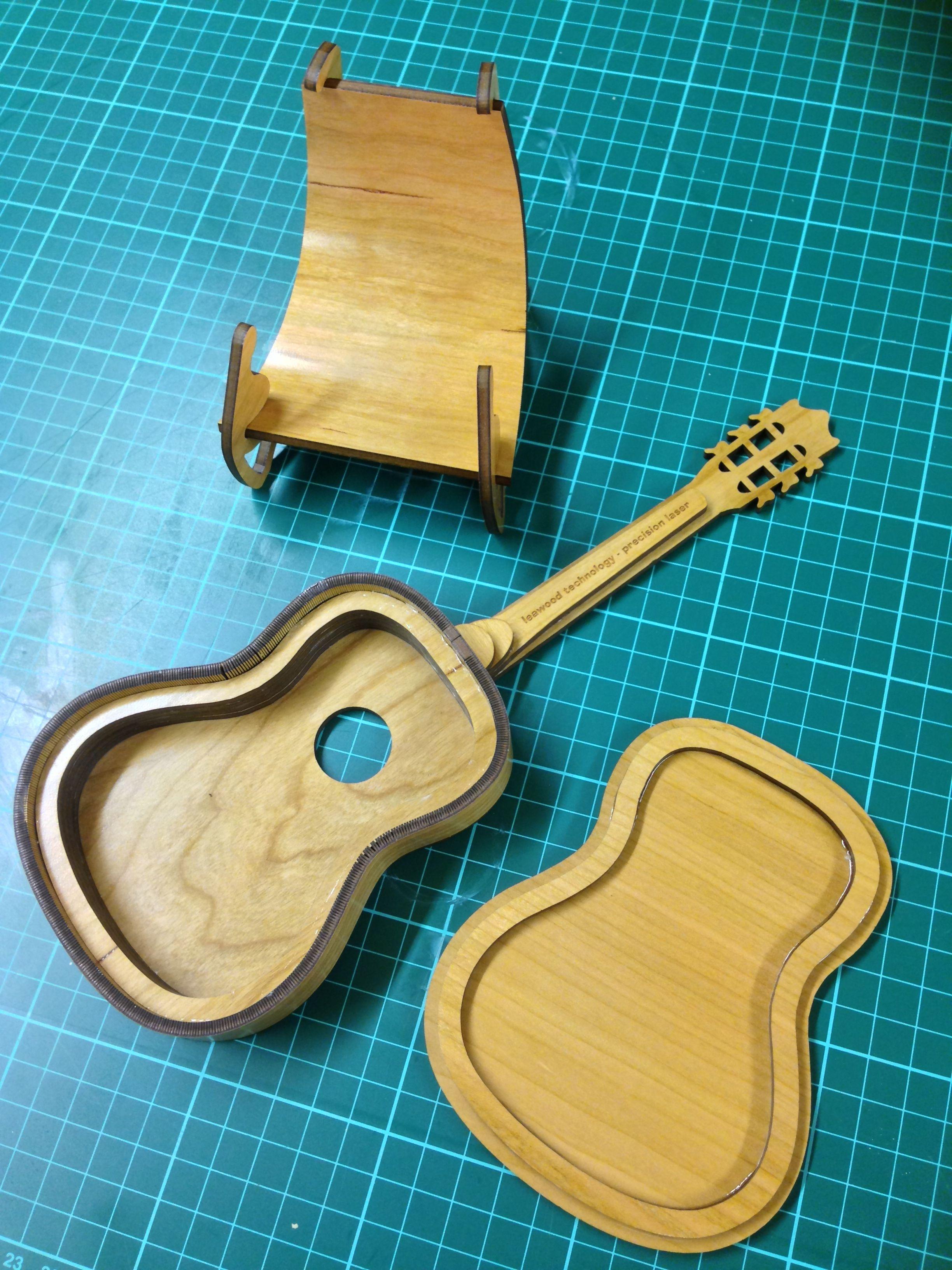 Laser cut model guitar in 3mm cherrywood