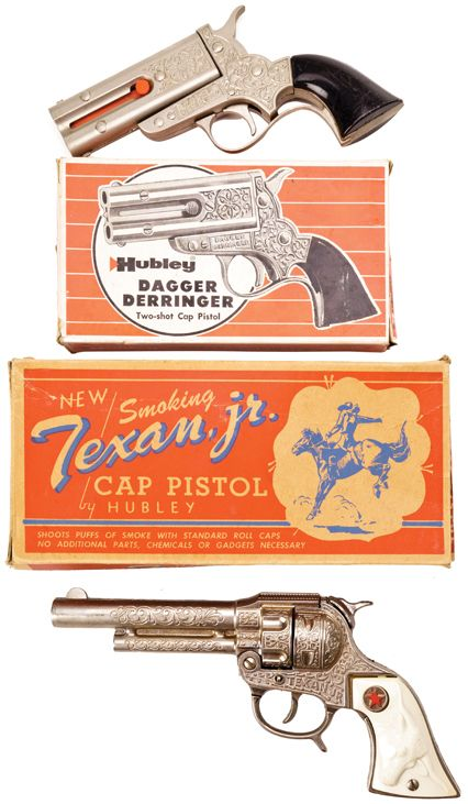 Western Bedroom Tank Toy Box Or: Vintage Hubley Derringer And Texan Jr. Cap Pistols. 1950s