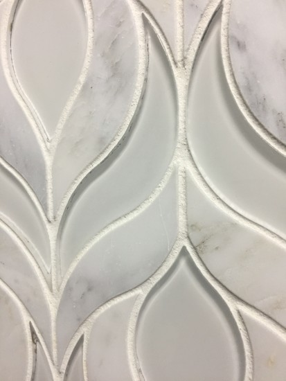 Botanica Waterjet Mosaic Tile In Arabescato Marble And Clear White