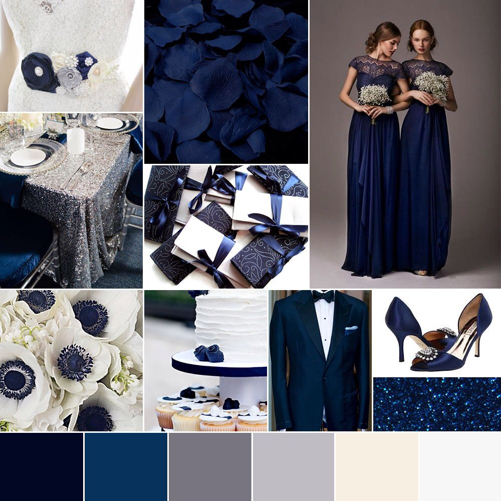 Wedding Color Palette Winter Navy Midnight Blue Silver White Glam Modern Chic By Go