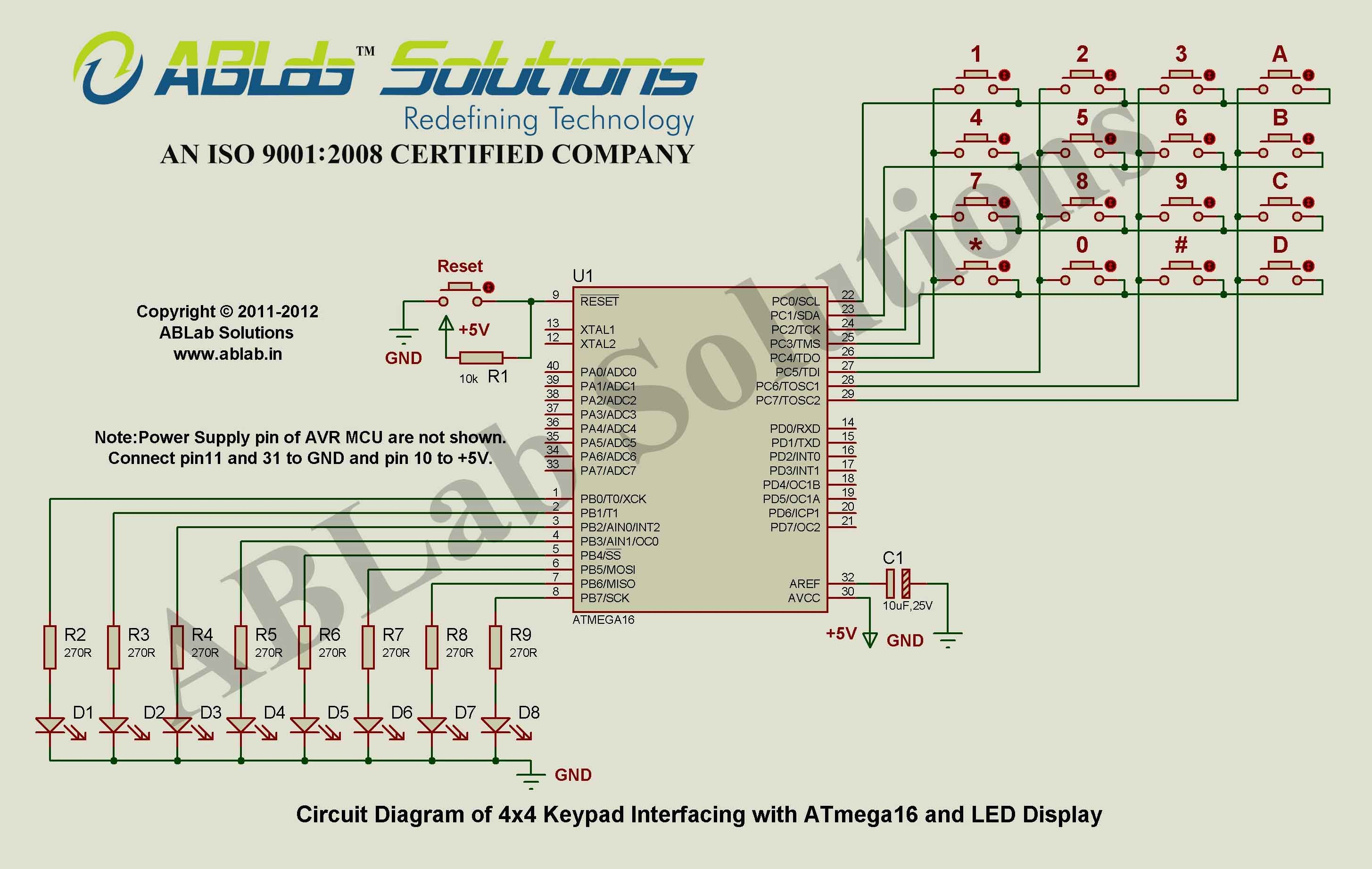 4x4-keypad-interfacing-with-avr atmega16 microcontroller-and-led-display  circuit diagram ablab solutions