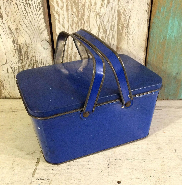 1920s Farmhouse Vintage Blue Tindeco Larger Lunch Box Pail, Primitive Décor, Antique Tin Box, Vintage Tin, Decorative Box by tinprincess on Etsy https://www.etsy.com/listing/292434143/1920s-farmhouse-vintage-blue-tindeco