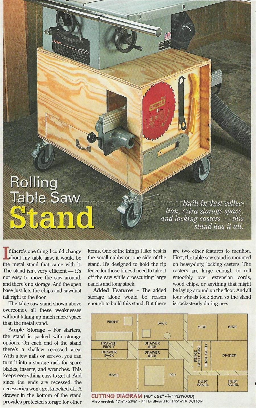 2855 rolling table saw stand plans table saw woodworking table rh pinterest com table saw stand plans pdf DIY Table Saw Stand Plans