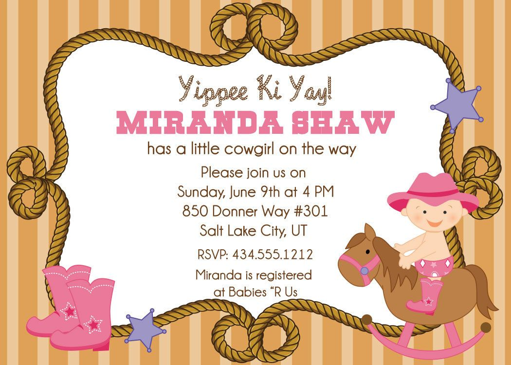 Cowgirl Baby Shower Invitations Baby shower Pinterest