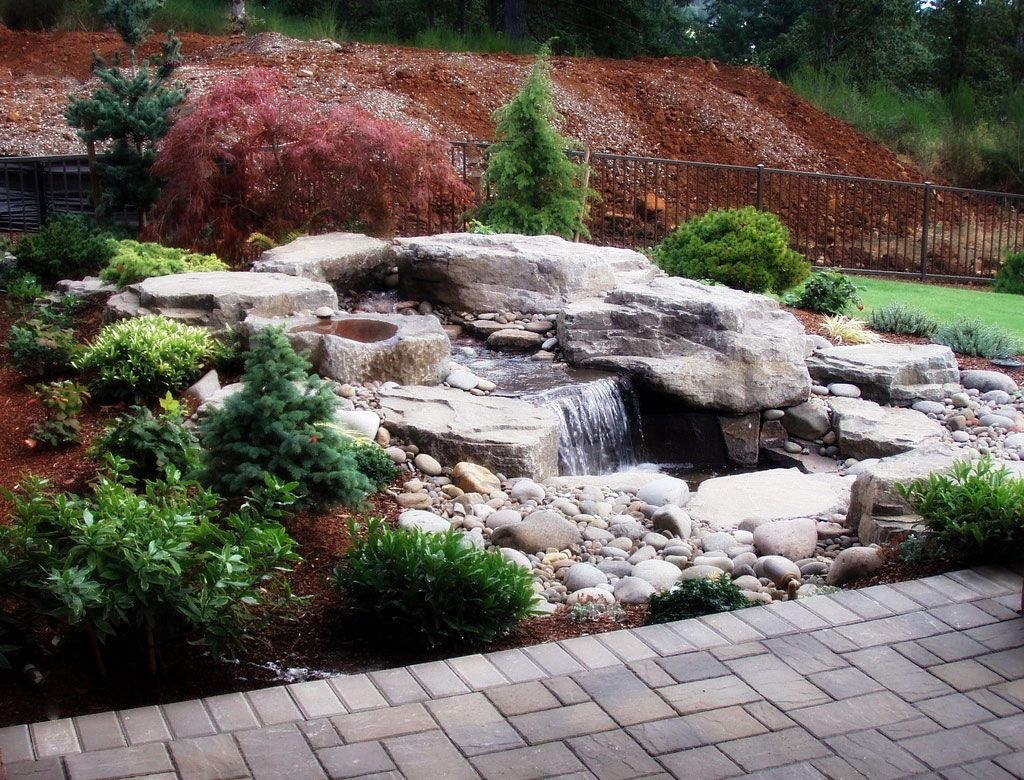 Outdoor water feature outdoor water features pinterest for Waterfall water feature