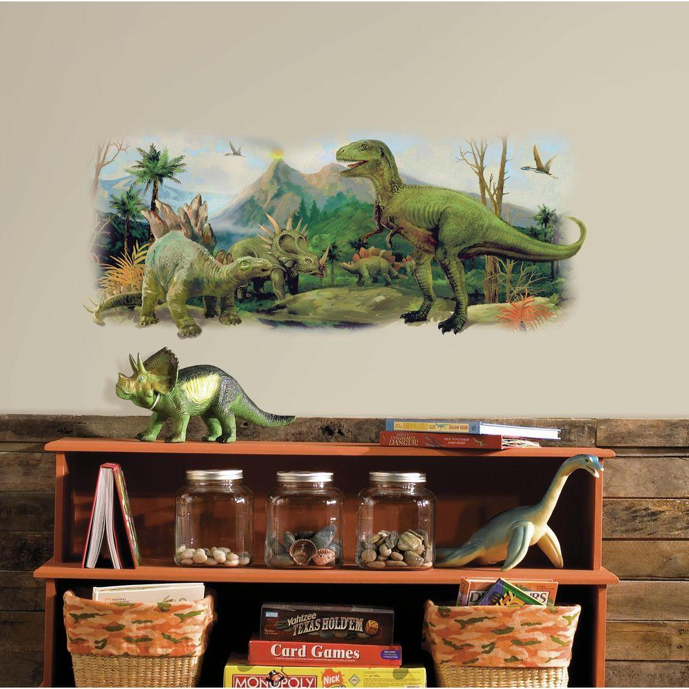 2.5 in. W x 21 in. H Dinosaurs Giant Scene Peel and Stick Wall Graphic, Green