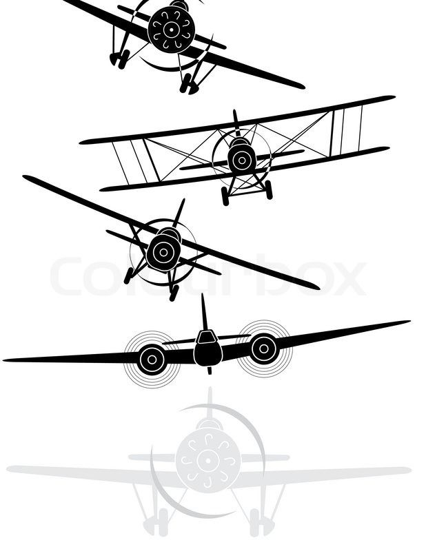 The Military Pilot In The Plane In A Helmet Vector