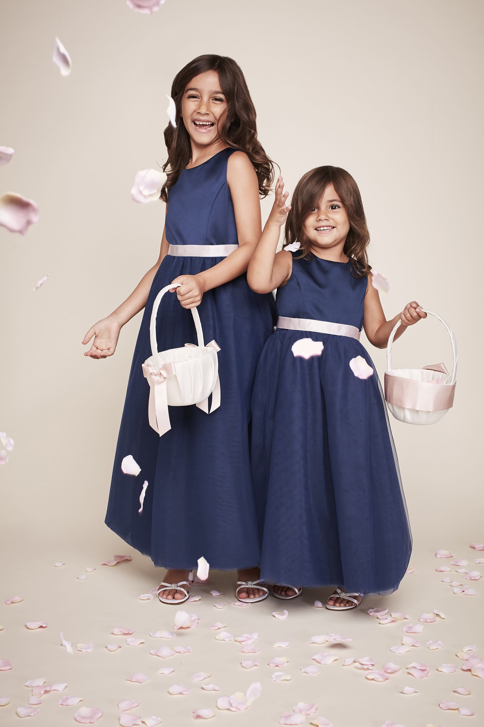 Navy Blue Marine Flower Girl Dresses With Pink Sashes Gennas
