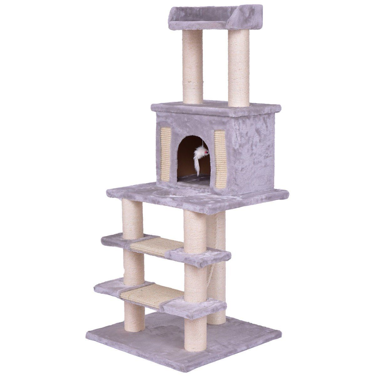 Tangkula 52 Cat Tree Scratching Post With Rope Mouse Kitten Pet Play House Kitte Tower Grey You Can F Cat Scratching Post Cat Bed Furniture Scratching Post