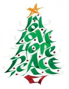 Advent peace. Hope joy love winter