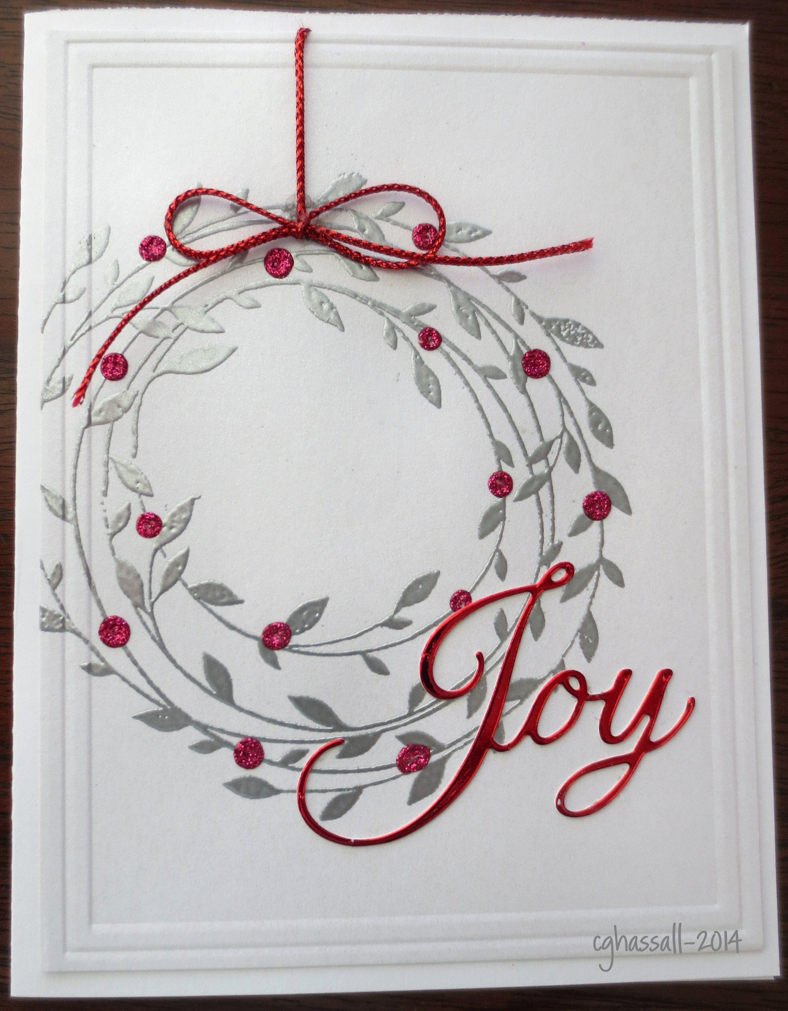 HA wreath stamp and Penny Black Joy diecut | Card☆Christmas ...