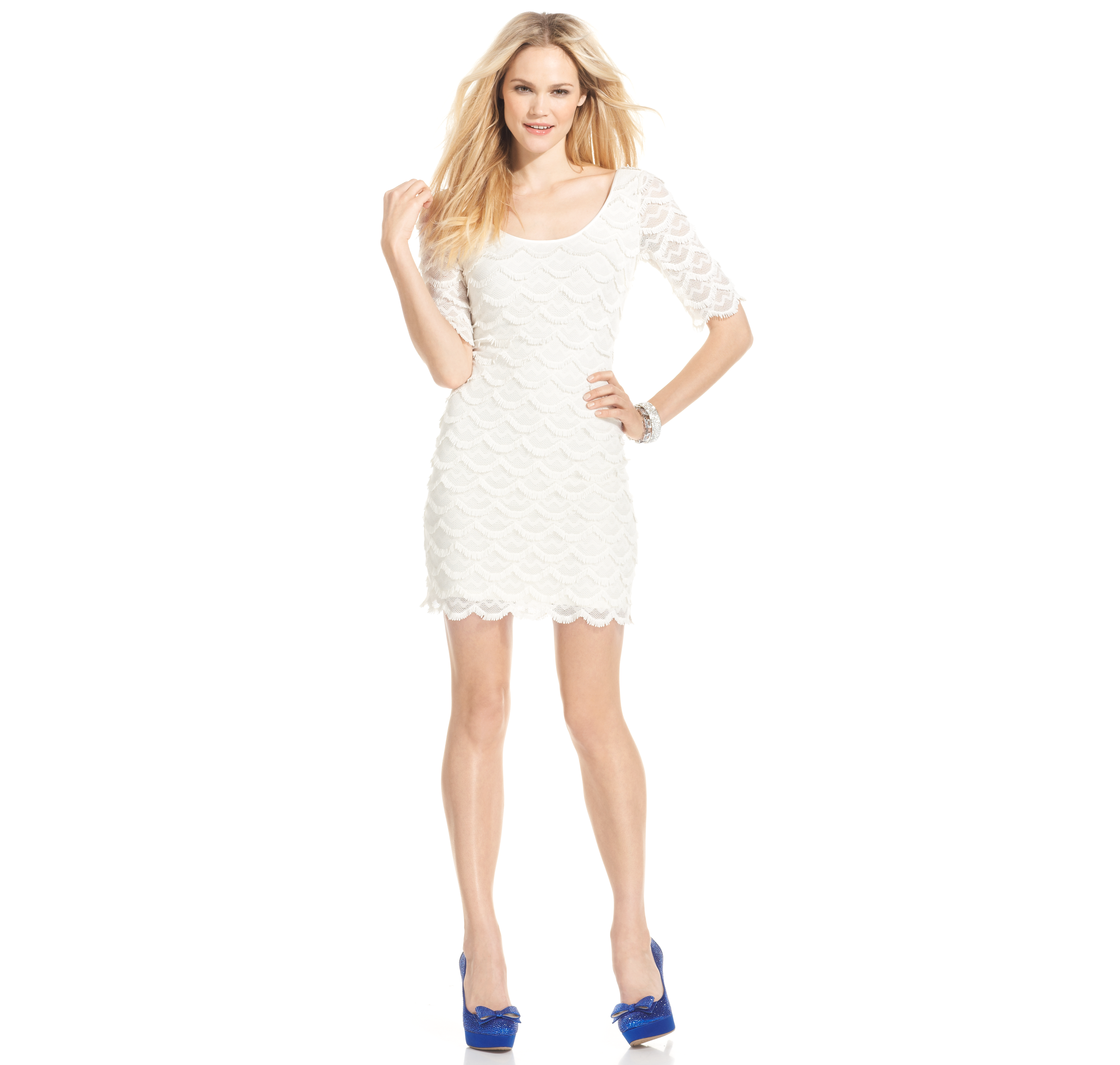 Guess Short-Sleeve Scalloped Lace Dress