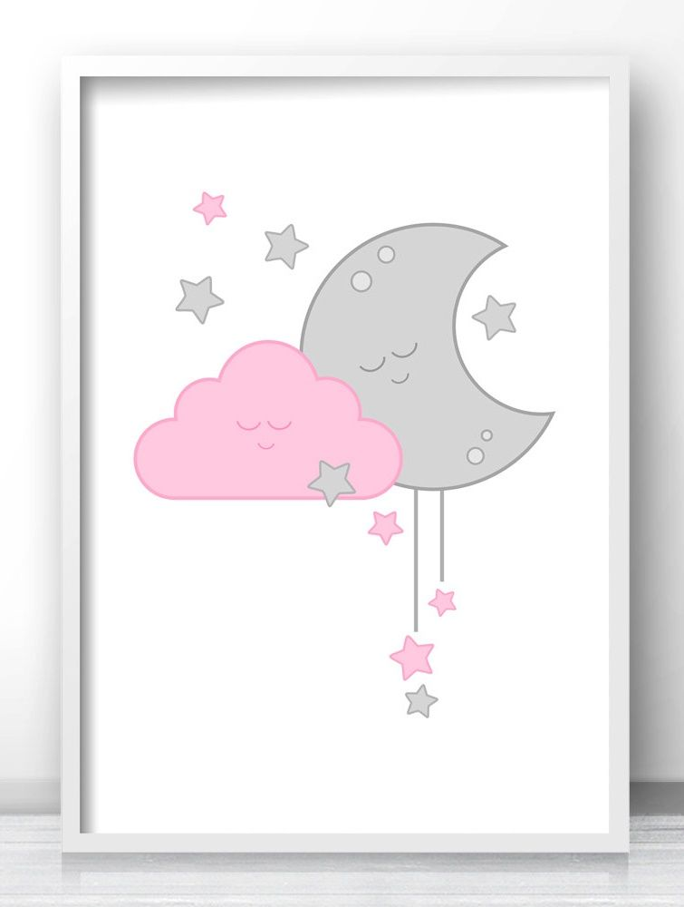 Cute Owl with Stars Print Nursery Wall Art Baby Room Decor Picture Gift