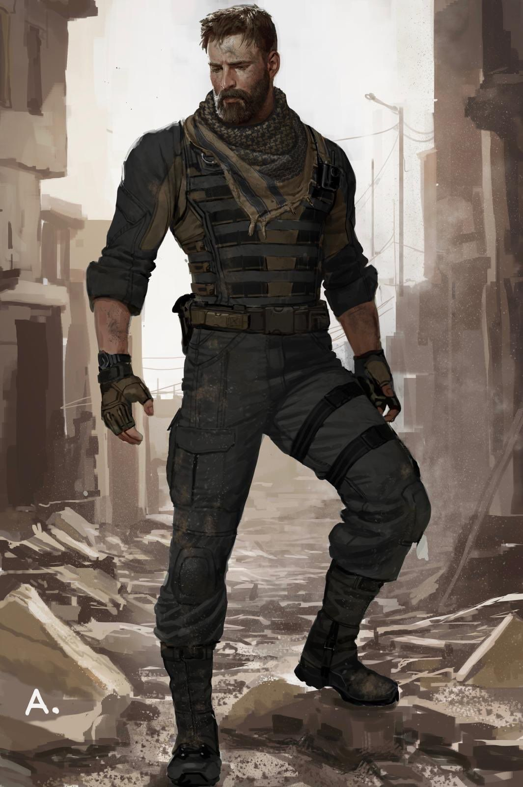 This Infinity War Concept Art of Captain America Without His Costume ... 3b169e367341