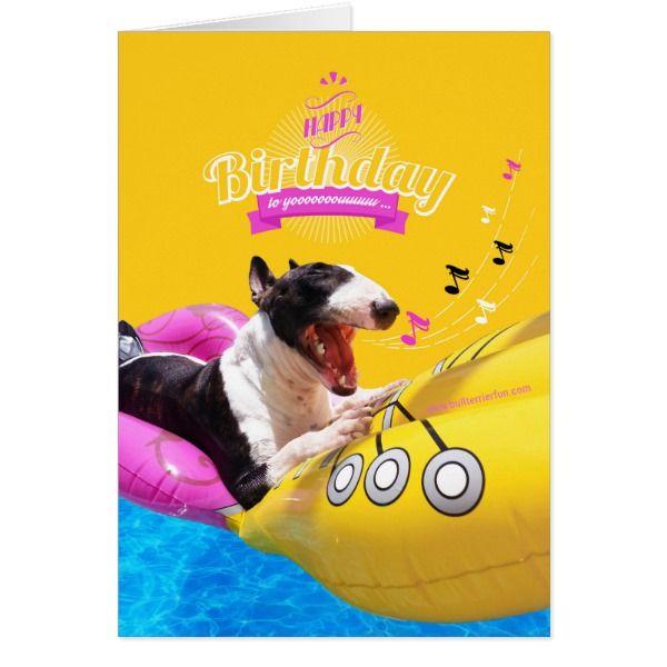 "Bull Terrier ""Happy Birthday"" Photo Card #cards #birthday #happybirthday"