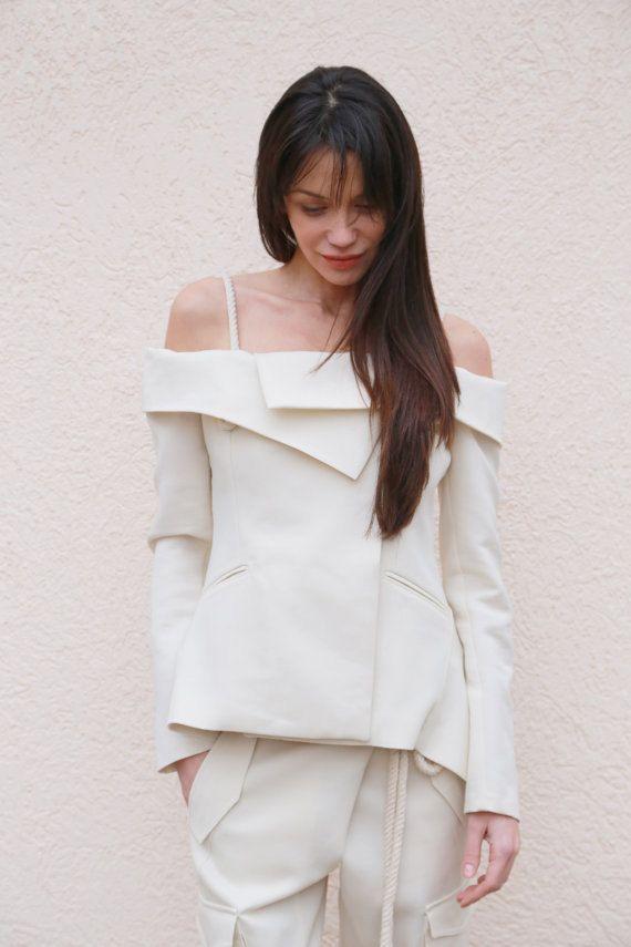 de46c90ea771 White Blazer All Season Coat Extravagant Blazer Jacket with open ...