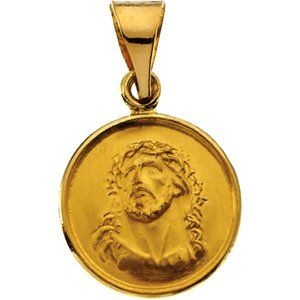 Genuine IceCarats Designer Jewelry Gift 18K Yellow Gold Face Of Jesus (Ecce Homo) Medal. 13.00 Mm Face Of Jesus (Ecce Homo) Medal In 18K Yellow Gold