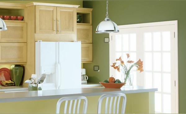 Wände Streichen Wandfarbe Olivgrün Küche Gestalten