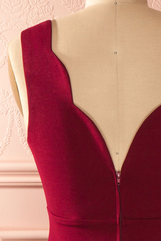 Ottiliana Burgundy - Burgundy sleeveless A-line dress