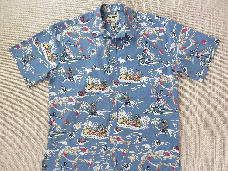 Hawaiian Shirt Men ALOHA LINE Ukulele Aloha Shirt Vintage Tiki Tribal Surfer Tropical Print 100/% Cotton Camp XL Oahu Lew/'s Shirt Shack