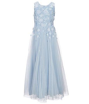 Teeze Me Girls Big Girls 7-16 3D Floral Applique Long Dress  74ca0fec5