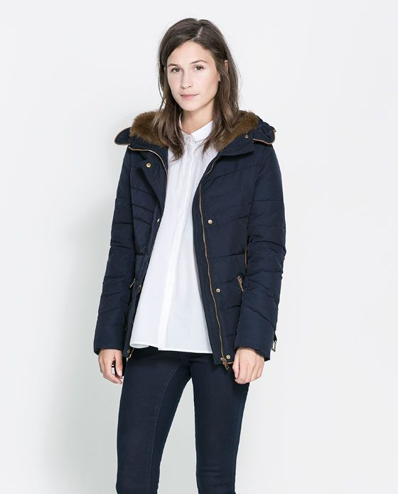 Image 2 of SHORT QUILTED JACKET WITH HOOD from Zara | Seattle ... : navy blue quilted coat - Adamdwight.com