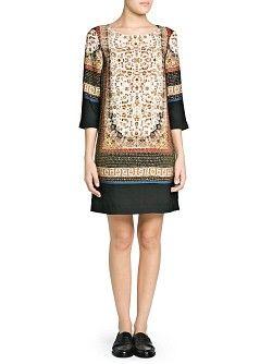 b9d77a47e3c1 MANGO - VÊTEMENTS - Robes - Robe droite à imprimé foulard