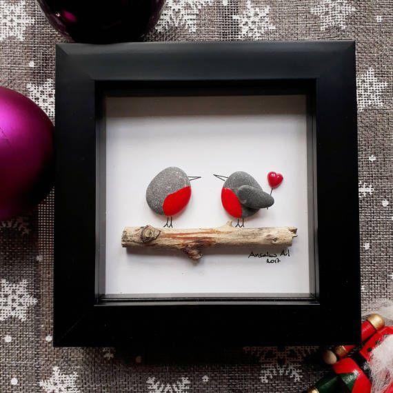 Photo of Robins Pebble Picture, Valentine's Day Gift, Pebble art, Framed lovers present,  Valentine decor, Valentine's decoration, kieselsteinbilder