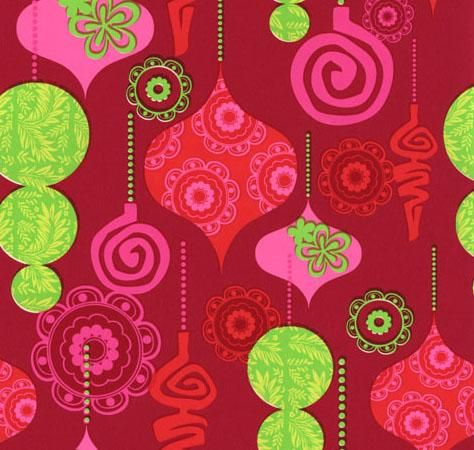 Mod Ornaments Gift Wrap Lime, Red, Pink, and Fuschia.... Such a ...