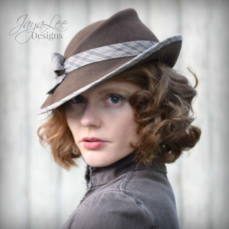 women felt tilt hat 1930s vintage style fedora in earthy