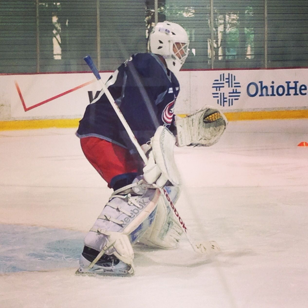 more photos d1a30 3aa93 Anton Forsberg on the ice for goalie practice at #CBJDevCamp ...