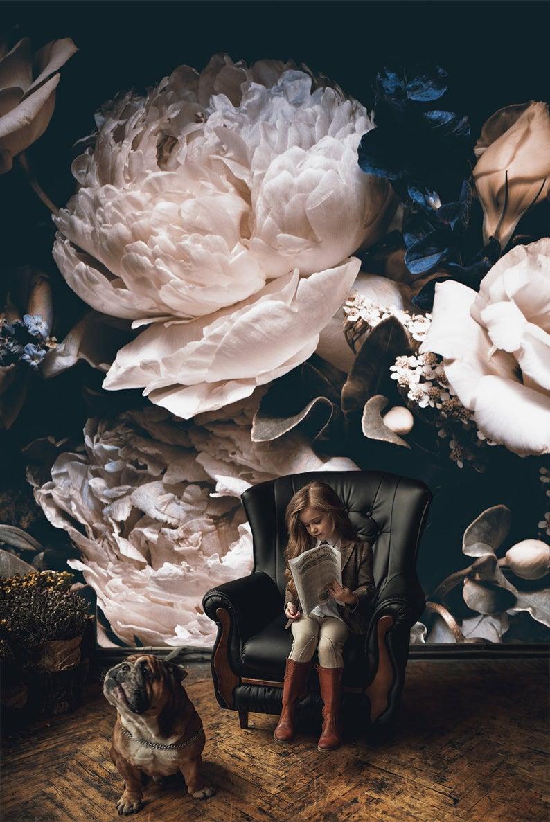 Dark vintage floral wallpaper, wedding clipart rem