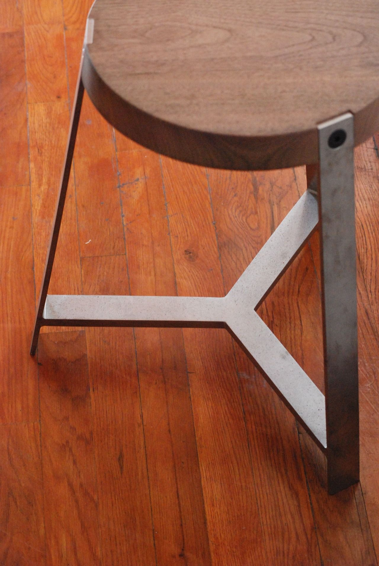 Wood And Metal Framed Stool