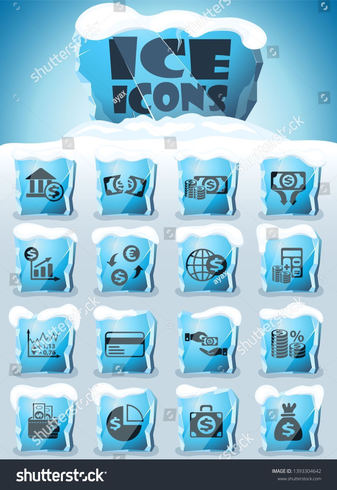 business finance vector icons frozen in transparent blocks