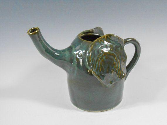 Pottery Elephant Vase Whimsical Elephant Vase Green Elephant