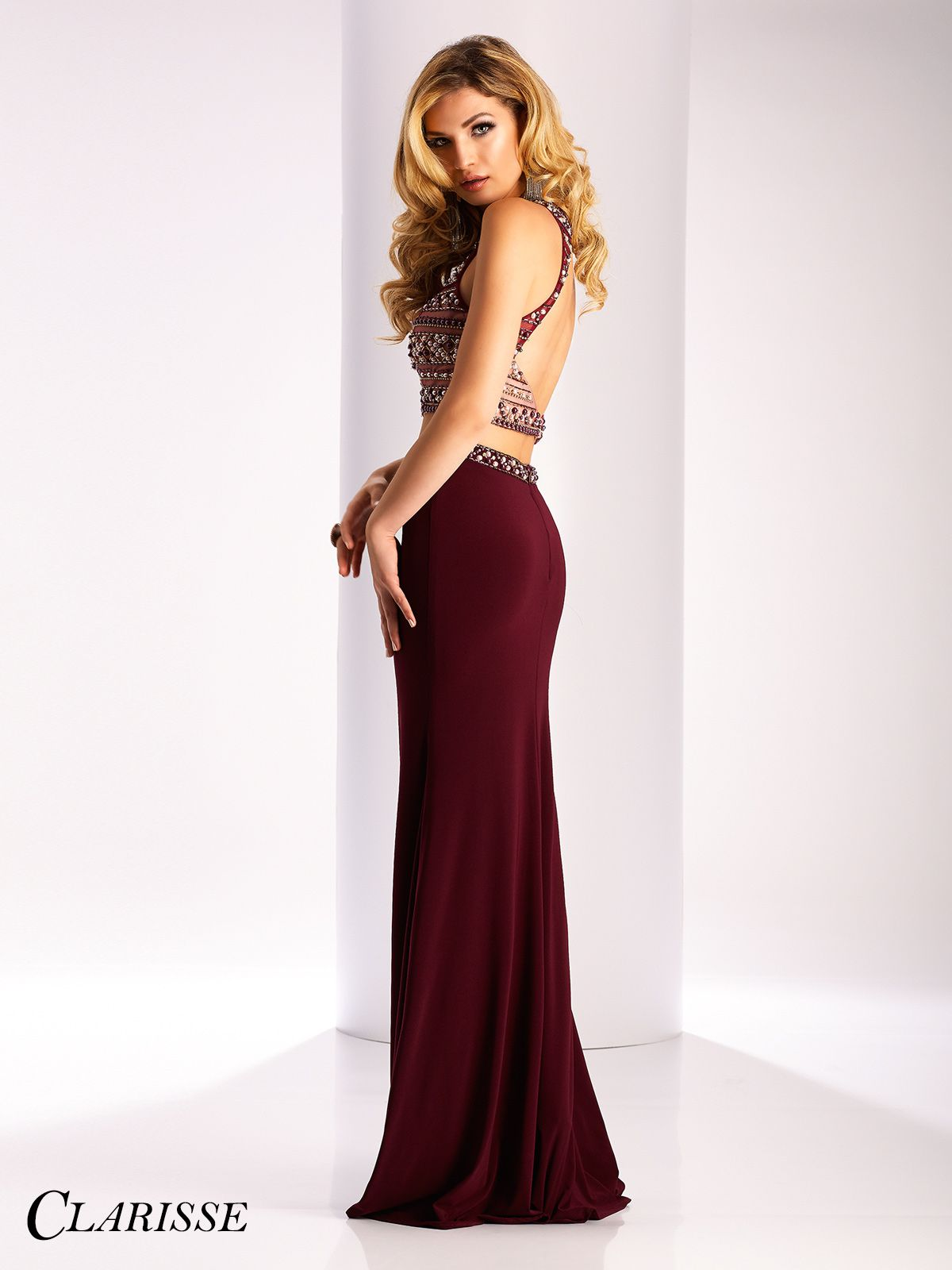 586bf0b0b629d Clarisse 2017 prom dress style 3020. Fitted two piece prom dress in  burgundy | Promgirl.net