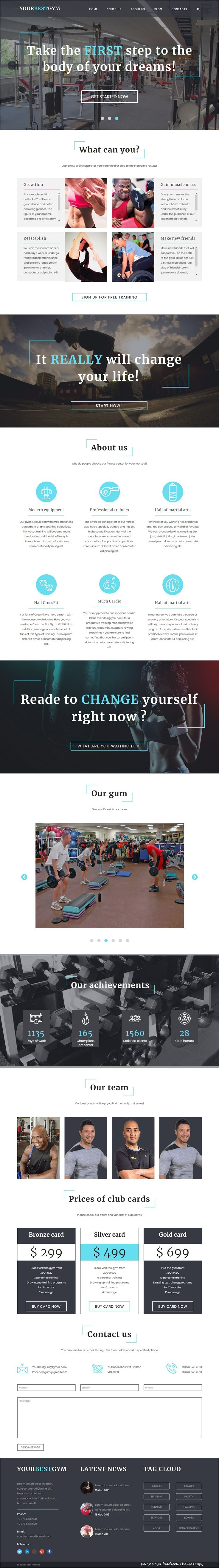 Your Best Gym - HTML5 Template   Sports clubs, Template and Web ...