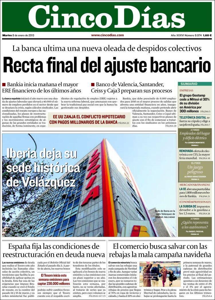 Titulares y Portada del 8 de Enero de 2013 del Periodico Cinco Días ¿Que te parecio este día?