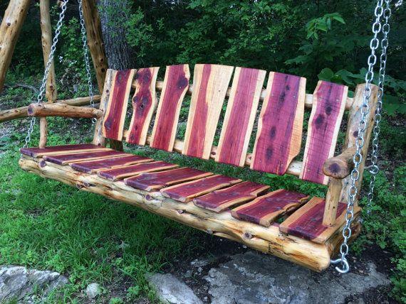 5 39 Live Edge Cedar Porch Swing Log Porch Swing Poverty Gulch Rustics Swing Wood Swing Porch Swing Wood Swing Cedar Log