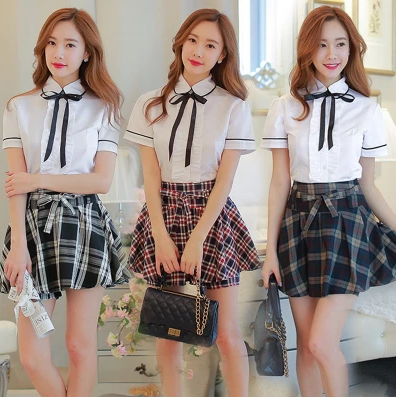 1eefb43ee2 Fashion students shirt plaid skirt two-piece outfit SE3647 Use code