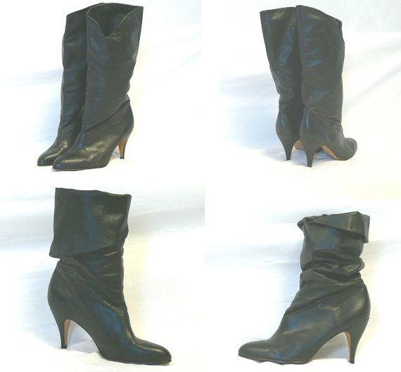 Image result for Vintage Totar Black Leather High Heel 80s shoe