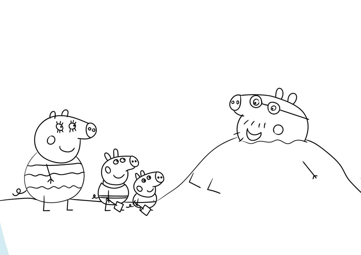 Daddy Pig in the Sand (With images) | Cartoon coloring pages ...