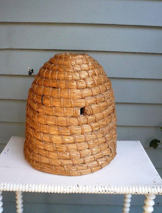 Vintage Bee Keep Garden Decor Straw