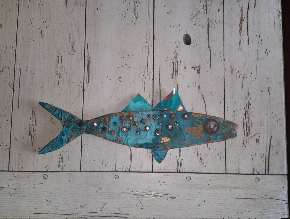 """Patinated Fish - Glorious blues and greens - patinated copper, hand rusted mixed metal - wall art - 16"""" long x 5 1/2 wide x 1"""" thick by lollieluv on Etsy"""
