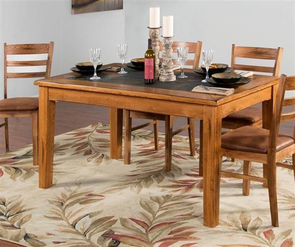 Sedona Rustic Oak Wood Dining Table W Slate Top Dining Table