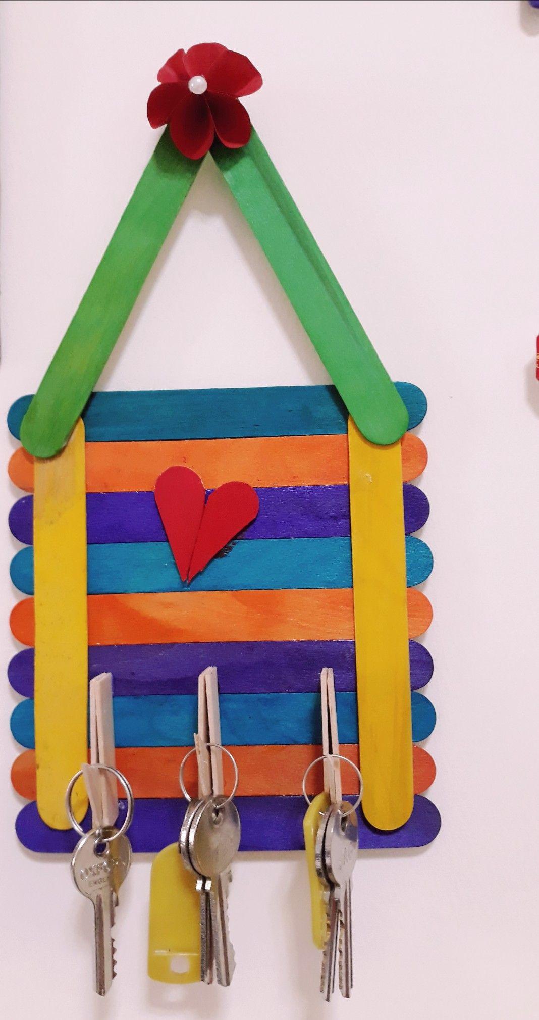 Diy Key Holder Using Popsicle Sticks Craft Stick Crafts Key